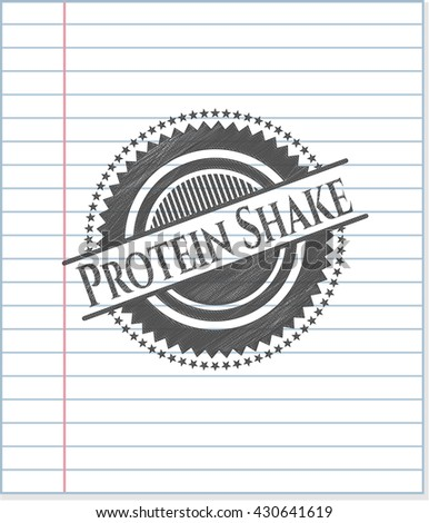 Protein Shake emblem drawn in pencil