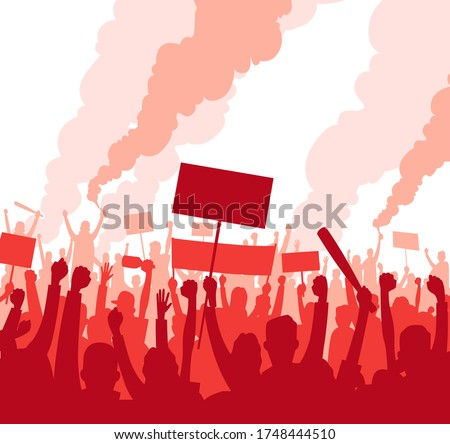 Protest and revolution red and white. Riot crowd of people with banners and signs are protesting against, mass riots. Silhouette People raised fist and signs on protest. Vector illustration Photo stock ©
