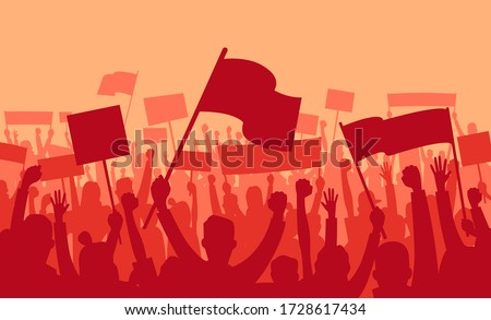 Protest and revolution. Silhouette of riot crowd demonstrators with banners and flags protesting on red background. People Cheering on the meeting. Crowd with banners. Vector illustration