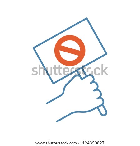 Protest banner in hand color icon. Protester's or activist's hand. Demonstration, meeting. Protest placard. Social and political movement participant. Isolated vector illustration