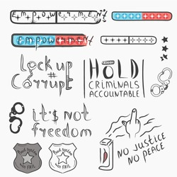 Protest banners for positive changes. Police injustice sticker set. Vector isolated illustration.