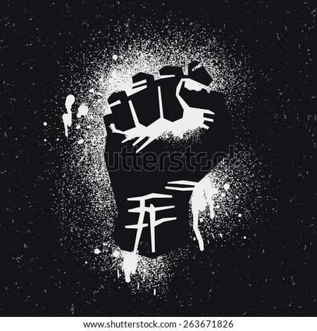 Protest logo. Black style. Hand popular protest.