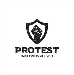 Protest Logo Design Vector Stock . Protest logo . Revolution Raised Fist Logo . American Usa Protest Logo Vector Design