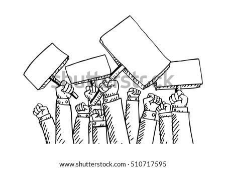 protest people doodle  men