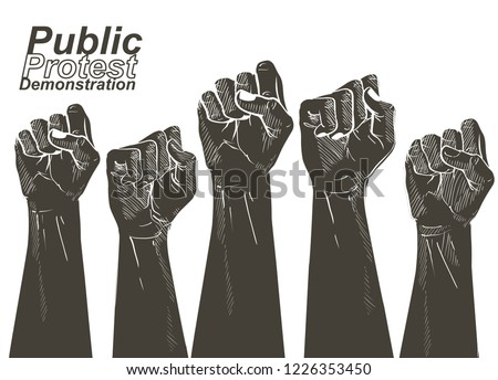 protest, rebel, political, demands, revolution, unity, cooperation, lives matter, activist, against, angry, banner, civil, concept, conflict, democratic, demonstration, election, equality, fist, freed ストックフォト ©