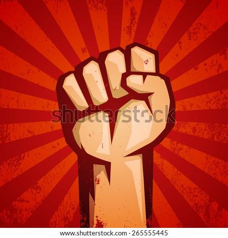 protest red logo fist raised