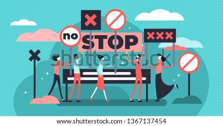 Protest vector illustration. Flat tiny demonstration persons crowd concept. Stop and against poster for strike, revolution or riot. Strong democracy communication movement. Rebel action holding banner