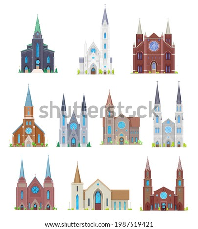 Protestant churches, christian community temples buildings. Cartoon vector medieval cathedral facade, gothic monastery exterior with altar stained glass and belfry or bell tower, cross on spire Stock photo ©