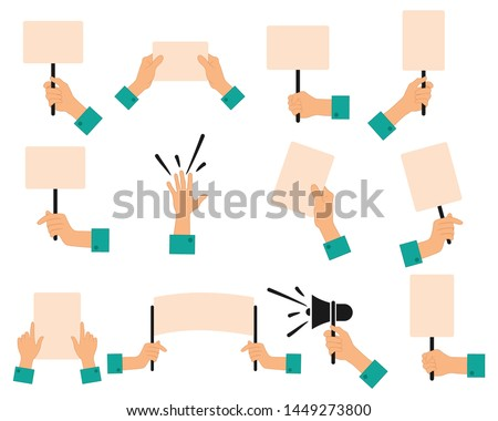 Protesters banners. Concept of hands hold different banners. peace protest poster and blank vote placards.  isolated on white background. vector icons set