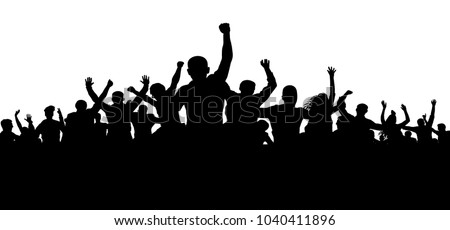 Protesters, enraged crowd of people silhouette vector, angry mob Stockfoto ©