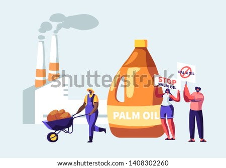 Protesters with Banners for Stop Palm Oil Producing Industry Prohibition, Worker with Raw Material, Processing Factory with Pipes Emitting Smoke, Environment Pollution Cartoon Flat Vector Illustration