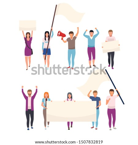 Protesters with blank placards flat vector characters set. Political protest, social movement participants holding empty banners. Human rights protection manifestation isolated cartoon illustrations