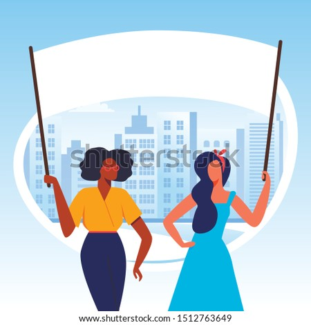 Protesting Girls with Placards on Demonstration, Characters Holding Banners and Signs, International Womens Day Flat Vector Illustration