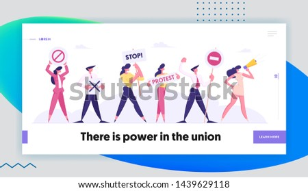 Protesting People Against Election or Candidate Voting Holding Placards on Strike or Demonstration, Protest Banners and Signs Website Landing Page, Web Page. Cartoon Flat Vector Illustration, Banner