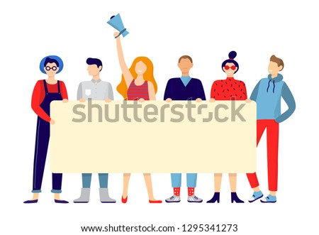 Protesting people group. Activists hold sign board or placard, team holding announce poster and active protest. Political activist manifestation parade, union strike rally vector illustration