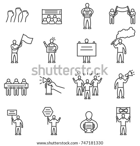 Protesting people icons set. Man with signs and banners. Demonstration, protest and meeting. Line with editable stroke