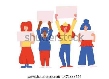 Protesting people standing together with sign boards. Young women holding blanks of banners and placards. Ladies take part of rally, parade. Vector illustration.
