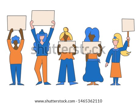 Protesting people standing together with sign boards. Young women holding clear placards. Ladies take part of rally, parade. Vector illustration.
