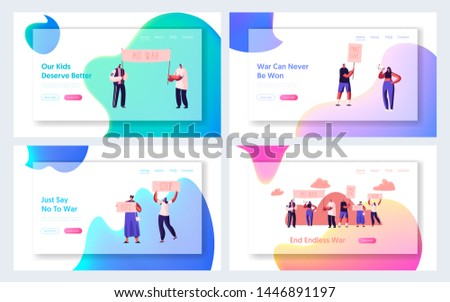 Protesting People Website Landing Page Set, Characters with Placards and Signs against War for Love on Strike or Demonstration, Protest, Riot, Picket Web Page. Cartoon Flat Vector Illustration, Banner