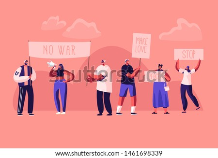 Protesting People with Placards and Signboard on Strike or Demonstration, Male, Female Activist Characters with Banners and Signs Against War, Protest, Riot, Picket. Cartoon Flat Vector Illustration