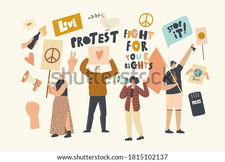 Protesting People with Placards and Signboard on Strike or Demonstration, Male, Female Activist Characters with Banners Protest for Love and Peace on Riot, Picket. Linear People Vector Illustration Stockfoto ©