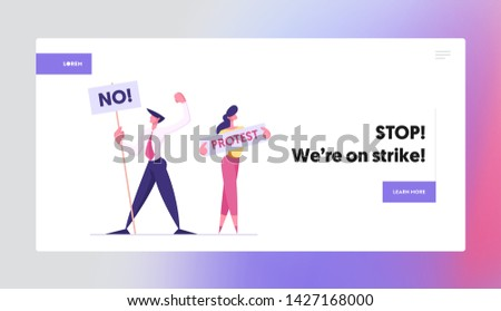 Protesting People with Placards on Demonstration Holding Banners and Signs Against Election or Candidate Voting Citizen Protest Website Landing Page, Web Page. Cartoon Flat Vector Illustration, Banner