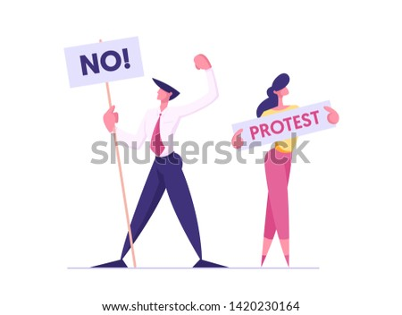 Protesting People with Placards on Demonstration, Male, Female Characters Holding Banners and Signs Against Presidental Election or Candidate Voting, Citizen Protest, Cartoon Flat Vector Illustration