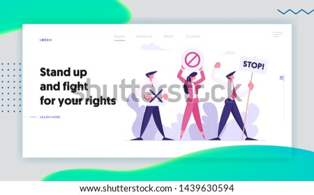 Protesting People with Placards on Strike or Demonstration, Banners and Signs Against Election or Candidate Voting, Protest, Website Landing Page, Web Page. Cartoon Flat Vector Illustration, Banner