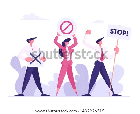 Protesting People with Placards on Strike or Demonstration, Male, Female Characters with Banners and Signs Against Presidential Election or Candidate Voting, Protest, Cartoon Flat Vector Illustration