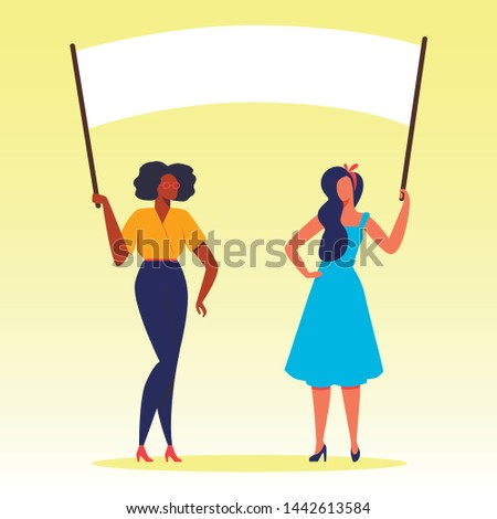 Protesting Woman with Placards on Demonstration, Characters Holding Banners and Signs, International Womens Day Presidential Election Candidate Voting, Citizen Protest Cartoon Flat Vector Illustration