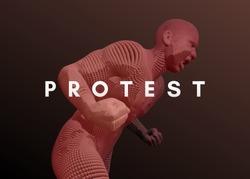 Protestor. Angry man shouting. 3D model of man. Vector illustration.