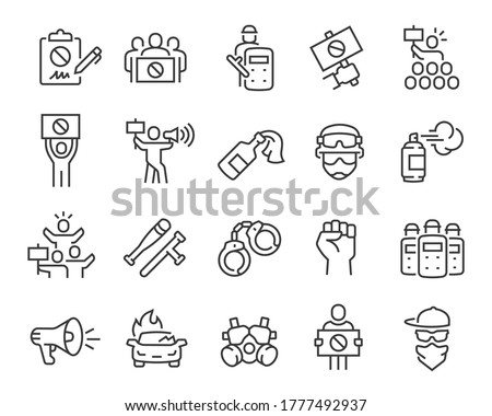 Protests and Revolution Icons Set. Collection of linear simple web icons such as Petition, Military, Arrests, Police, Robberies, Strike and others. Editable vector stroke. Foto stock ©