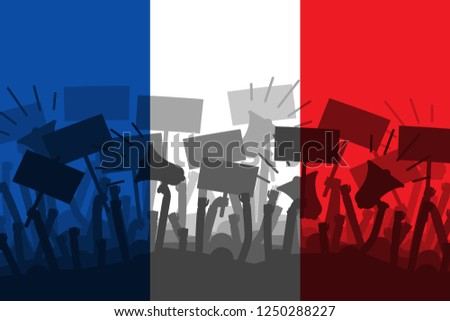 Protests in France. Silhouette of group of people protesting with a flag of France as a background. Vector illustration