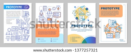 Prototype brochure template layout. Preliminary product. MVP. Flyer, booklet, leaflet print design with linear illustrations. Vector page layouts for magazines, annual reports, advertising posters