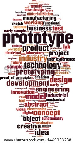 Prototype word cloud concept. Collage made of words about prototype. Vector illustration