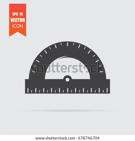 Protractor icon in flat style isolated on grey background. For your design, logo. Vector illustration.