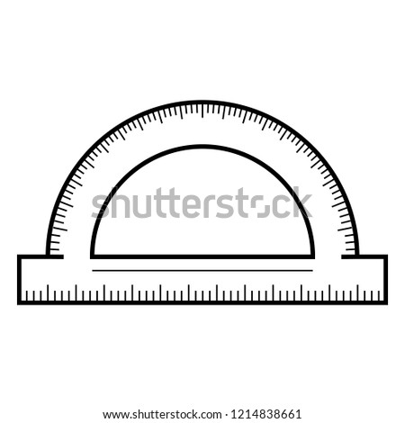 Protractor icon. Outline protractor vector icon for web design isolated on white background