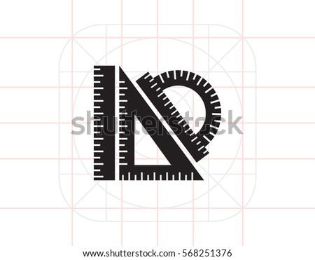 Protractor ruler, set square, ruler