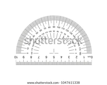 Protractor with ruler 10 cm. Protractor grid for measuring degrees. Tilt angle meter. Ruler 10 centimeters. 10 cm grid with a division to one thirty-second. Measuring tool. Ruler Graduation. EPS10