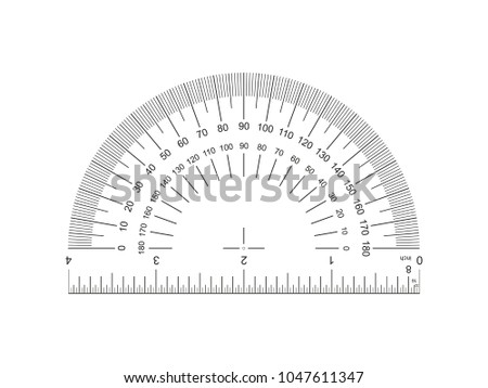 Protractor with ruler 4-inch. Protractor grid for measuring degrees. Tilt angle meter. Ruler 4 inch. 4-inch grid with a division to one thirty-second. Measuring tool. Ruler Graduation. EPS10