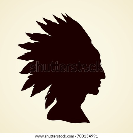 Proud brave navajo injun chieftain male person in big adornment warbonnet isolated on white background. Outline ink hand drawn picture logo sketchy in antique art engraving graphic style pen on paper