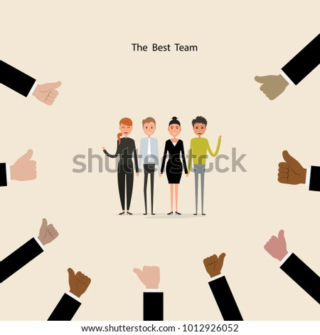 Proud Business people sign & hands icons on background.Successful business people with many thumbs up.Cartoon character.Acknowledgement & Business compliment concept.Success & Achievement concept.