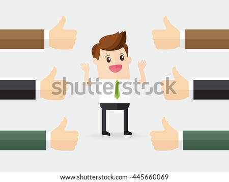 proud businessman getting positive feedback. employee with many hands showing thumbs up