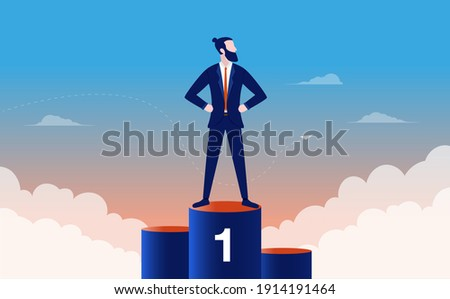 Proud businessman winning first place - Man standing on top of podium after being rewarded with 1st place. Winner, champion and success concept. Vector illustration. Photo stock ©