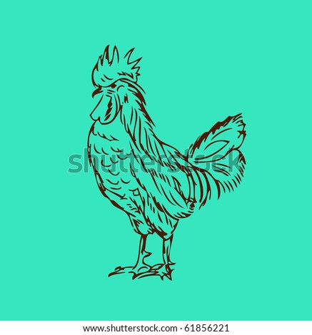 stock vector : Proud cock retro tattoo style Chicken vector