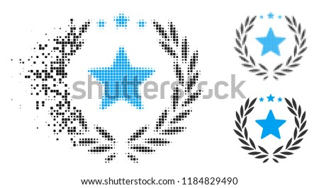 Proud emblem icon in dispersed, pixelated halftone and whole versions. Pieces are combined into vector dispersed proud emblem icon. Disintegration effect uses rectangular dots.