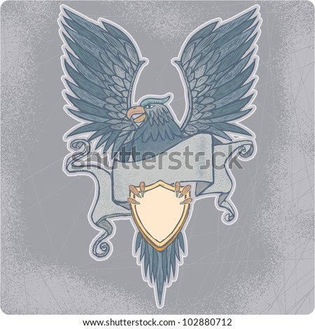 Proud high detailed eagle with banner and shield in engrave style.