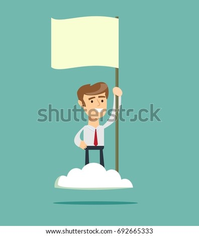 Proud man raising a flag on the cloud. Successful challenge concept, new achievement. Stock flat vector illustration.