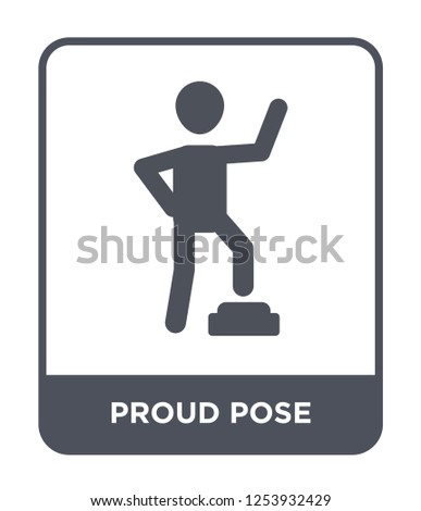 proud pose icon vector on white background, proud pose trendy filled icons from Humans collection, proud pose simple element illustration