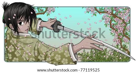 proud samurai holding katana
